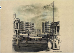 The unrealised Spence scheme, for the redevelopment of Saint James Square at the East End of Princes Street, Edinburgh. Late 1950's.