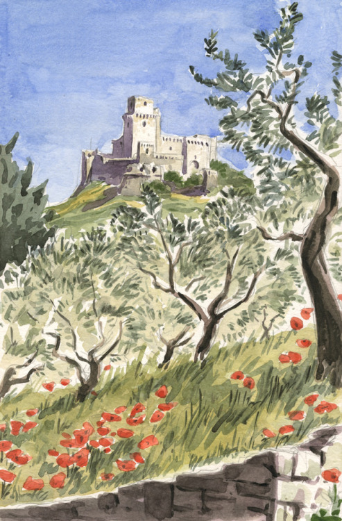 Assisi, Rocca Maggiore by Olivier PichardWatercolour on location - may 2011