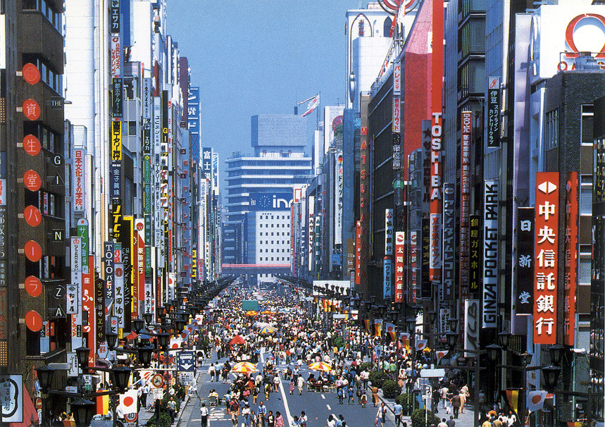 TOKYO: This highly dense traffic street needs a pedestrian zone!  Pedestrian friendly zone in Ginza during summer. Promote pedestrian days or zones in the cities is a great initiative to change our point of view of its streets. Discovering temporary free spaces, promoting commercial activities and inviting people to relax and enjoying the city without worrying about traffic.