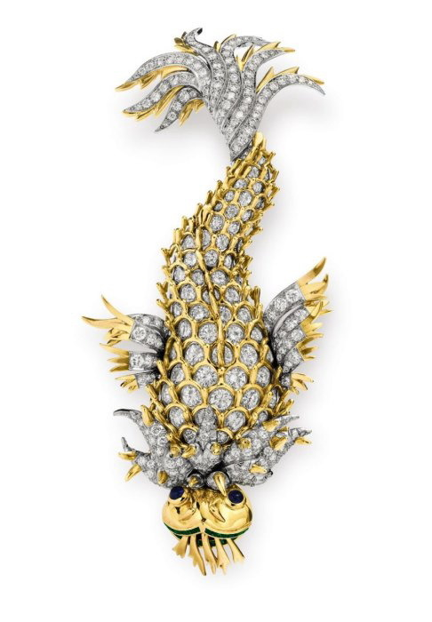 diamondsandgems:  The Night of the Iguana brooch, by Schlumberger, Tiffany & Co., 1964, gift from Richard Burton  Elizabeth stayed with Burton in Puerto Vallarta, where he was starring in John Huston's Night of the Iguana. They were famously in love, and to commemorate that time and for the film's opening, Burton gave Elizabeth this bejeweled brooch.
