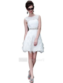 White High Neck Elastic Woven Satin/Fine-Netting Short/ Mini Cocktail/Homecoming Dress