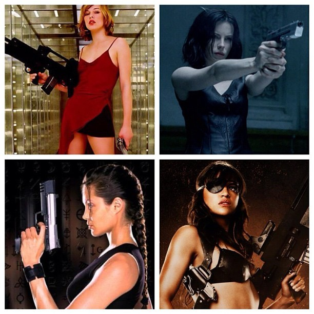 Top 4 Action Babes 😏😍 #bitcheslovebitcheswithguns #millajovovich #katebeckinsale #angelinajolie #michellerodriguez #residentevil #underworld #laracroft #machete (Taken with Instagram)