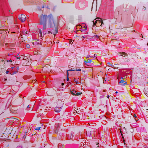 "girlsgetbusyzine:  taldigital:  The Pink & Blue Project South Korean artist JeongMee Yoon first embarked on ""The Pink and Blue Project"" when her five-year-old daughter couldn't get enough candy-colored possessions. She photographed her daughter Seowoo amongst her sea of pink things, from dolls to dresses to stuffed animals. She then began photographing little boys and girls amongst their color-coded belongings in a quest to better understand how gender shapes our lives from such a young age."