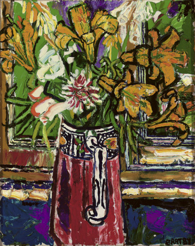poboh:  Flowers in a vase, John Bratby. English (1928 - 1992)