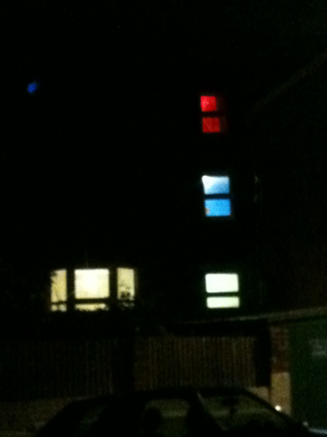 We passed this house in Peckham as we walked back from the pub the other night. Different coloured lights were emanating from the all the windows - obviously a supervillain lair (or den of iniquity).