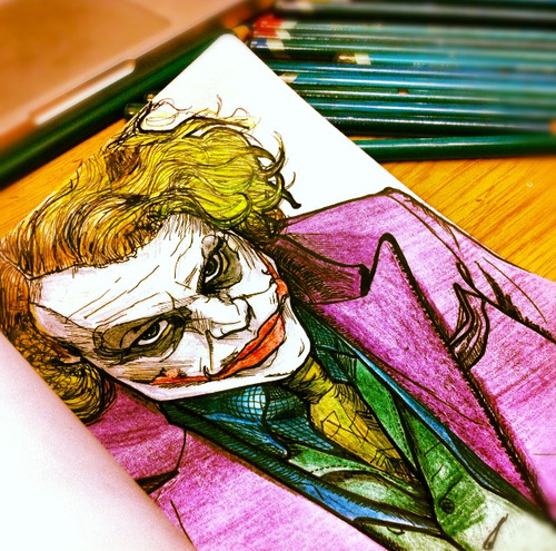 eatsleepdraw:  My illustration of the joker, inked and pencil coloured.  www.asplinteredsight.tumblr.com