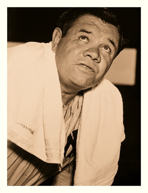 "Towel Time For Babe Ruth Babe worked up quite a sweat during one of his many exhibition appearances to benefit the war effort during WWII. Fun fact: During Babe's playing days with the Yankees (1920-34), the team didn't wear the familiar ""NY"" logo on their home jerseys. Instead, they wore plain pinstripes. The ""NY"" came back to stay from 1936-onward. So, if you see a picture of The Babe wearing that logo, it's after his retirement."