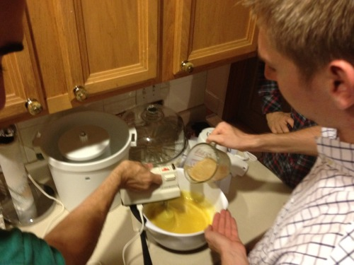 collaborative friendship ice cream-making. [Grandma Butterly's Caramel Ice Cream]