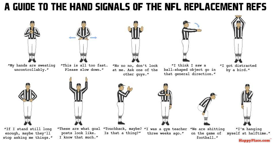 ilovecharts:  A Guide To The Hand Signals Of The NFL Replacement Refs via bunnyfood Not to be confused with this classic.  This makes my life.