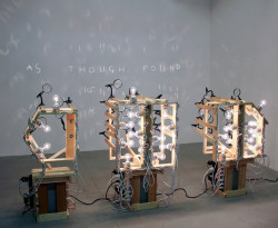 "Kinetic Sculptures Paint Ghostly Phrases, Using Light And Magnifying Glasses By Kelsey Campbell-Dollaghan, fastcodesign.com ""It's no more complicated than your iPhone,"" says Ian Burns, who builds mechanical art with inexpensive household electronics.""A lot of engi­neers are frus­trat­ed artists,"" says Aus­tralian artist Ian Burns. ""And a lot of artists are frus­trat…  Incredible."
