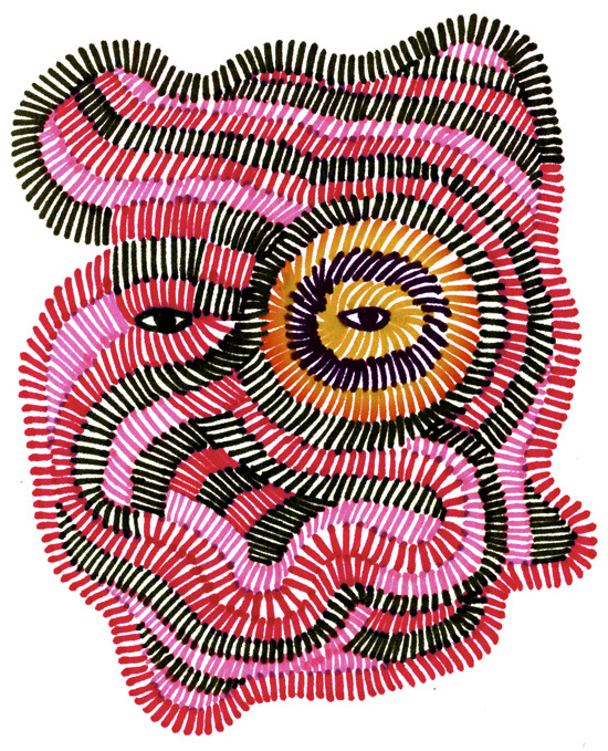 jisoonpark:  Face 15-22012, Color pens on paper, colored by photoshop