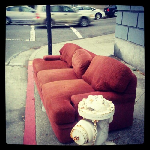 Hear ye hear ye - free sofa at Sacramento @ Franklin (Taken with Instagram)