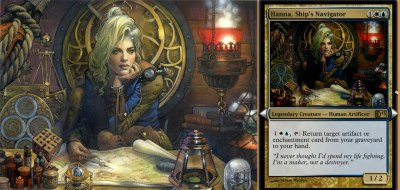 mtgfan:  Source: Check out this awesome alternate art Hanna, Ship's Navigator from Terese Nielsen! Presumably from Duels of the Planeswalkers 2013, should we ever expect this version to transfer over to paper form? Seems like it could be an awesome promo. What do you guys think?  Terese Nielsen:I loved painting all the details in this one. Thanks to Drew I have a screen cap of the digital card version, since it's not in paper form yet.