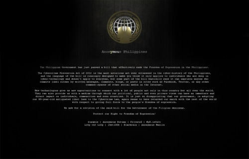 pinoytumblr:  Bangko Sentral ng Pilipinas website hacked Hackers claiming to be with Anonymous Philippines broke through the security measures of the website of the Bangko Sentral ng Pilipinas and posted on it a statement calling for the revision of the Cybercrime Prevention Act of 2012. UPDATE: They also hacked the Metropolitan Waterworks and Sewerage System website… for the second time this month.