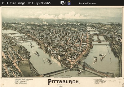 Map: Fowler's Birdseye Map of Pittsburgh (1902) originally posted to the BIG Map Blog.