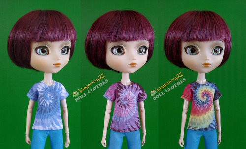 Pullip doll in 3 different tie dye t shirt on Flickr.Doll clothes and photo made by Hegemony77