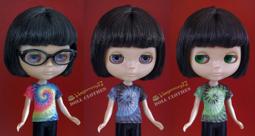 Blythe doll in 3 different tie dye t shirt on Flickr.Doll clothes and photo made by Hegemony77