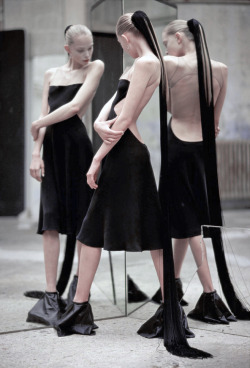 simulated:  Tanya Dziahileva wearing Rick Owens by Hans Feurer for i-D April 2009