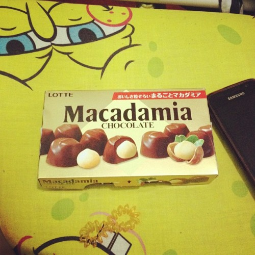 After getting a tattoo hahaha :) #chocolate #justnow #macadamia #lotte (Taken with Instagram)