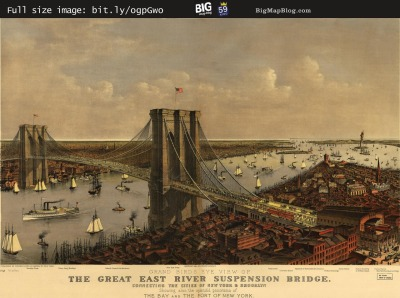 Map: Brooklyn Bridge by Currier and Ives (1885) originally posted to the BIG Map Blog.