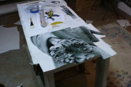 In Progress Work Life Size Image Transfer of Stone Angel from a Charleston,SC Cemetery.  -Claudia Wilburn