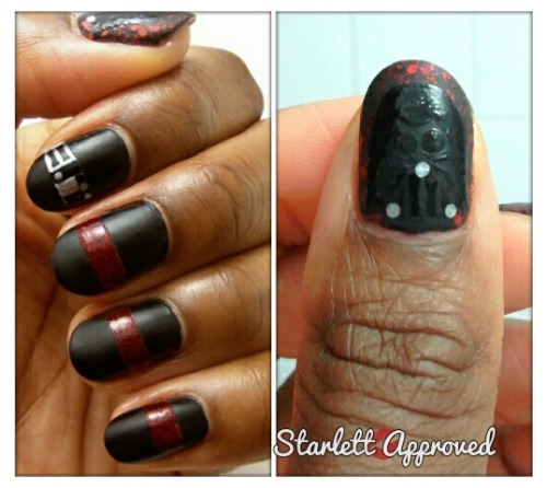 31 Day Challenge 2.0 Day 23: Inspired by a Movie- Star Wars Polishes Used: Spoiled by Wet n Wild Ants in my Pants Wet n Wild Black Creme Sally Hansen Pumping Iron New York Color Broadway Burgundy Frost Wet n Wild Wild Shine Clear Nail Protector New York Color Matte Me Crazy
