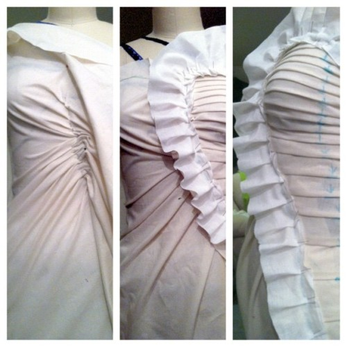 Some past #draping from a custom garment I did. #sewing #seamstress #fashiondesign (Taken with Instagram)