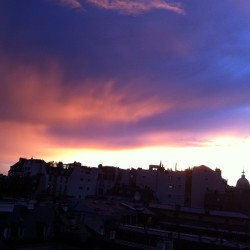 All this rain is totally worth it to see a sunset like this #nofilter #paris  (Taken with Instagram at At Home)