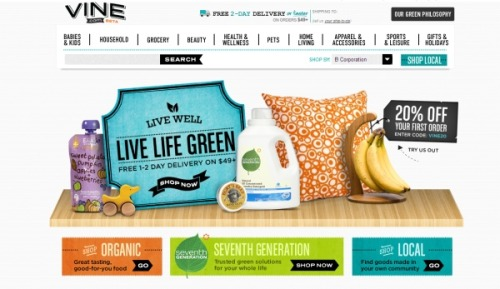 Amazon has launched a retail site for green shoppers. Vine.com sells eco-friendly products ranging from kitchen supplies to baby gear to beauty items that fall under criterias of sustainability, organic, toxin-free, renewable, and reusable. Vine is part of Amazon's Quidsi network of sites, which includes Diapers.com for baby products, Wag.com for pet supplies, and toy site YoYo.com.