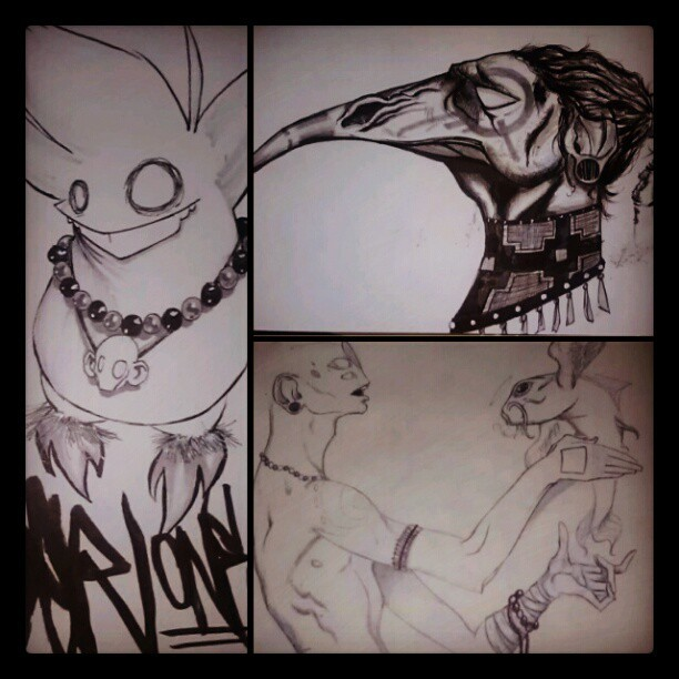 Some recent drawings. #bird #beads #tribal #figurative #fish #rat #ink #drawing  (Taken with Instagram)