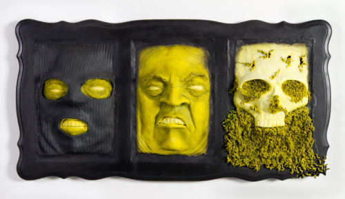 "creepsfromthevoid:  Anonymity Decomposed  2012 29""x53""x7.5""  65lbs Ceramic, Wood, Acrylic, Rubber Coating"