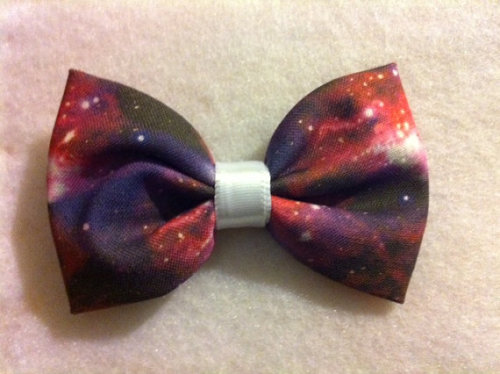 etsygoodies:  (via Nebula/Space/Galaxy Print Fabric Hair Bow BACK IN by crashedhope)