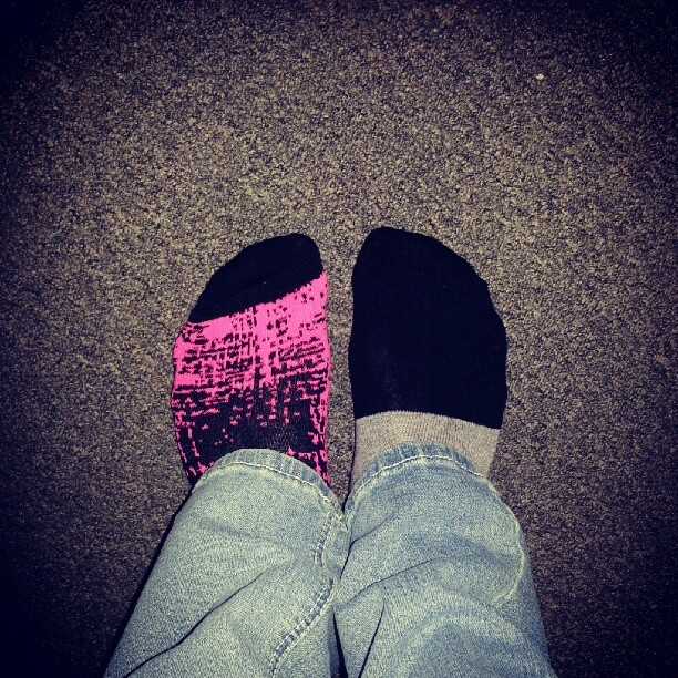 #mismatch #mismatchsocks #socks #mismatchedsocks #mixnmatch #pink #black #mysocks #myfeet #feet #todayssocks  (Taken with Instagram)
