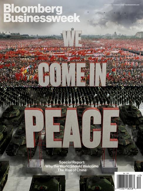 "coverjunkie:  Bloomberg Bizweek (US) ""WE COME IN PEACE""New cover Bloomberg BusinessweekArtwork Justin MetzCreative Director Richard Turley carries also a great blog, check it when you have a chance…Creative Director: Richard TurleyDesign Director: Cynthia HoffmanGraphic Director: Jennifer DanielGraphics Editor: Kenton Powell, Evan ApplegateDirector of Photography: David CarthasArt Director: Robert VargasDesigners: Maayan Pearl, Lee Wilson, Chandra Illick and Shawn HastoDesign Manager: Emily Anton"