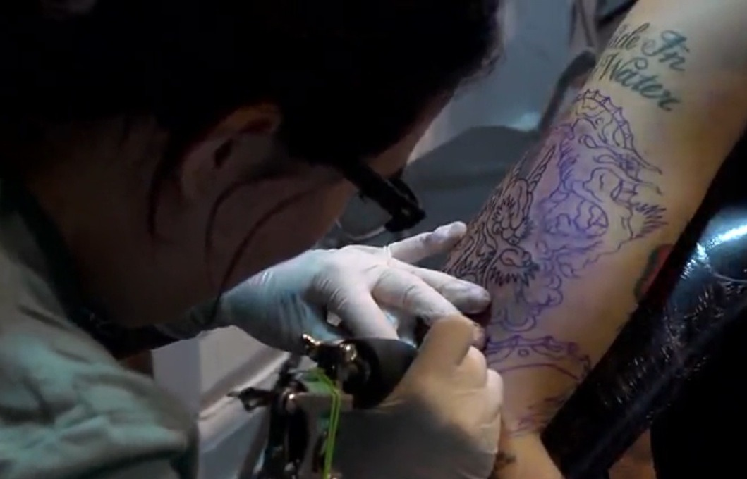 The couple that tattoos together stays together, or something. Watch Tattoo Age - Val Vargas, Part 3