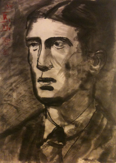 Young Mr. Tolkien (for PIFAL), ink wash on Japan paper 24x33cm, Sept/2012 @_blacha_ on Flickr.