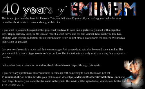 STILL A FEW DAYS LEFT! PLEASE CONTRIBUTE! WE WILL MAKE SURE EMINEM SEES THIS. Contact her for more info: https://twitter.com/Eminemoholic