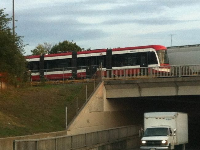 fuckyeahtoronto:  One of the TTC's new streetcars rolls into the Lambton rail yard by train from Thunder Bay on Tuesday, Sept. 25, 2012 (PHOTO COURTESY OF JUNCTIONEER.CA)