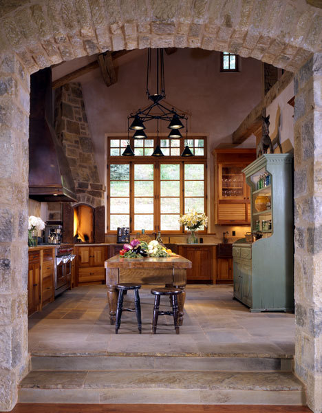 Love the brick and stone kitchen, just perfect