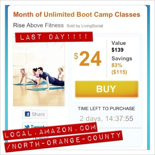Last day to get this awesome deal to come to Rise Above Fitness and do a month unlimited bootcamps for $24 bucks. http://local.amazon.com/north-orange-county/B009DJH51GWe have 14 bootcamps a week. So email, call or go to http://riseabovefitnessoc.com/schedule/ for class times. Get in here and get training!