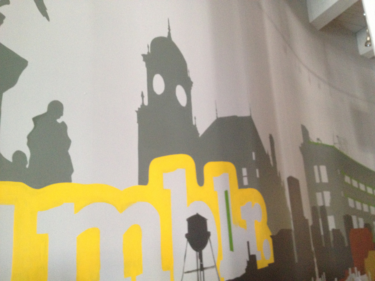 View from my desk: Main St. Station! Day three of the Tumblr wall mural by Seth Ganz and Matt Flowers