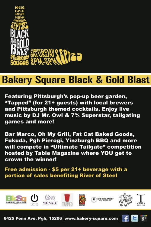 Join us THIS SATURDAY for BkSq's Black & Gold Blast. Get all of the details HERE.  And join us on SUNDAY for the final Sunday Marketplace of the summer! Get fresh veggies, jewelry, crafts, and more. Visit this LINK to connect to the events page.