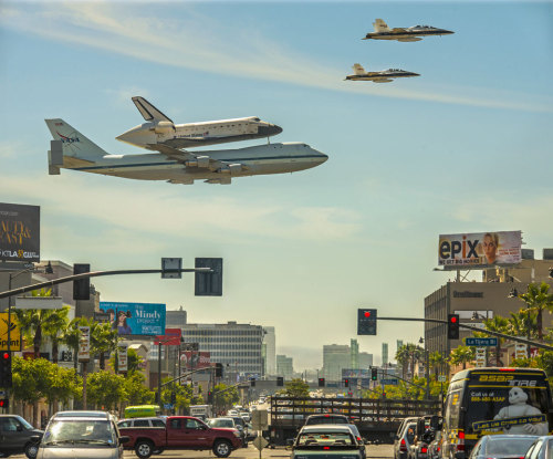 A Space Shuttle Over Los Angeles   Image Credit & Copyright:  Stephen Confer