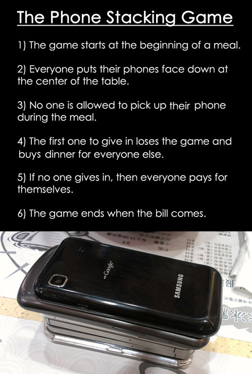 tastefullyoffensive:  The Phone Stacking Game[via]