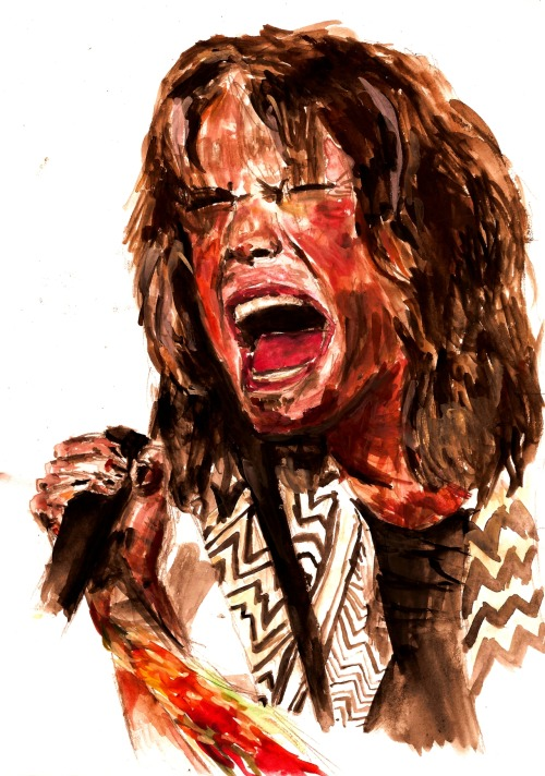 I painted Steven Tyler. As you do. Then I put him on a shirt. As it would appear you also do. Also available as posters and shit like that. Man I fucking love Aerosmith.