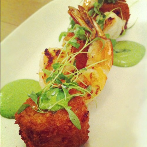 *Special* tonight at the Oyster Bar- Crab croquettes with tiger shrimp and herb aioli! $14. #food #themermaidnyc #crab #nyc #restaurants #yum (Taken with Instagram at The Mermaid Oyster Bar)