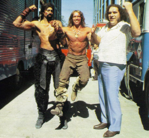 thescore:  Wilt Chamberlain, Andre the Giant & Arnold Schwarzenegger on the set of Conan the Destroyer.