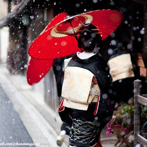 Wonderful little snap of a geiko. Despite being Japanese, I can't help but think it would make a lovely little Christmas card design