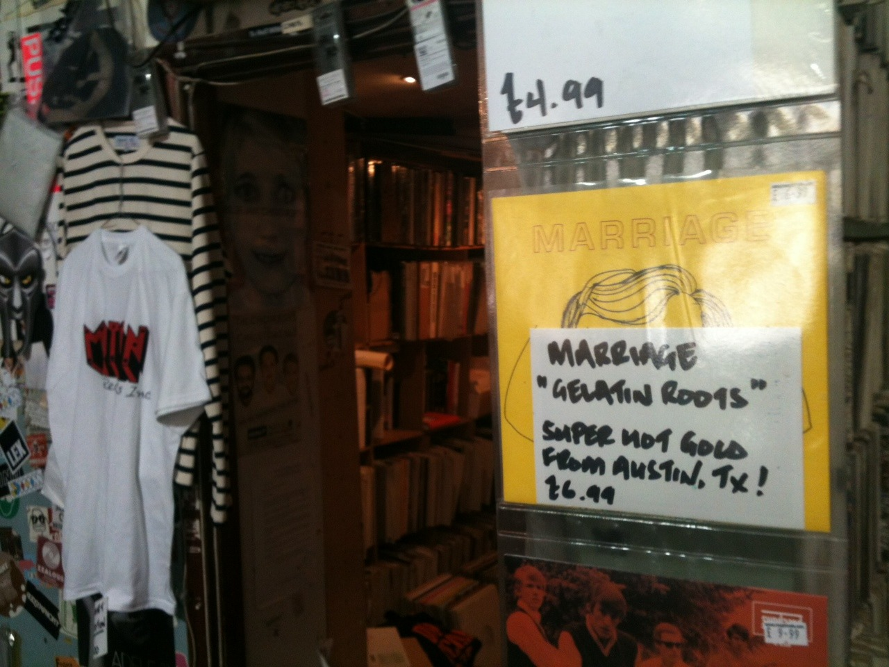 This is what our record looks like for sale at Rough Trade in London. Also if you read this blog and you have bought the 7 inch from us or somewhere else…send us a picture of you holding the record and we will email you a link to download mp3s. We also reserve the right to post any pics on the blog. Creativity is encouraged. m a r r i a g e a t x at g m a i l You can also order it from dischord. http://www.dischord.com/release/mrg01/gelatin-roots