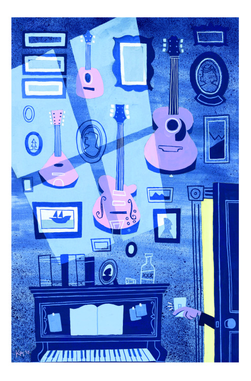 "eatsleepdraw:  ""The Musician Calls it a Night"" - gouache, 2012 Kellan Stover - illustrator/animator (portfolio)(tumblr)"